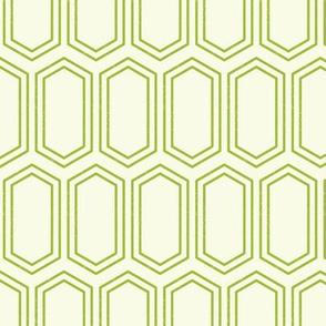 Elongated Hexagon Geometric Pattern (Line Green on White)