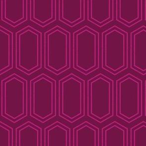 Elongated Hexagon Geometric Pattern (Line Magenta on Deep Red)