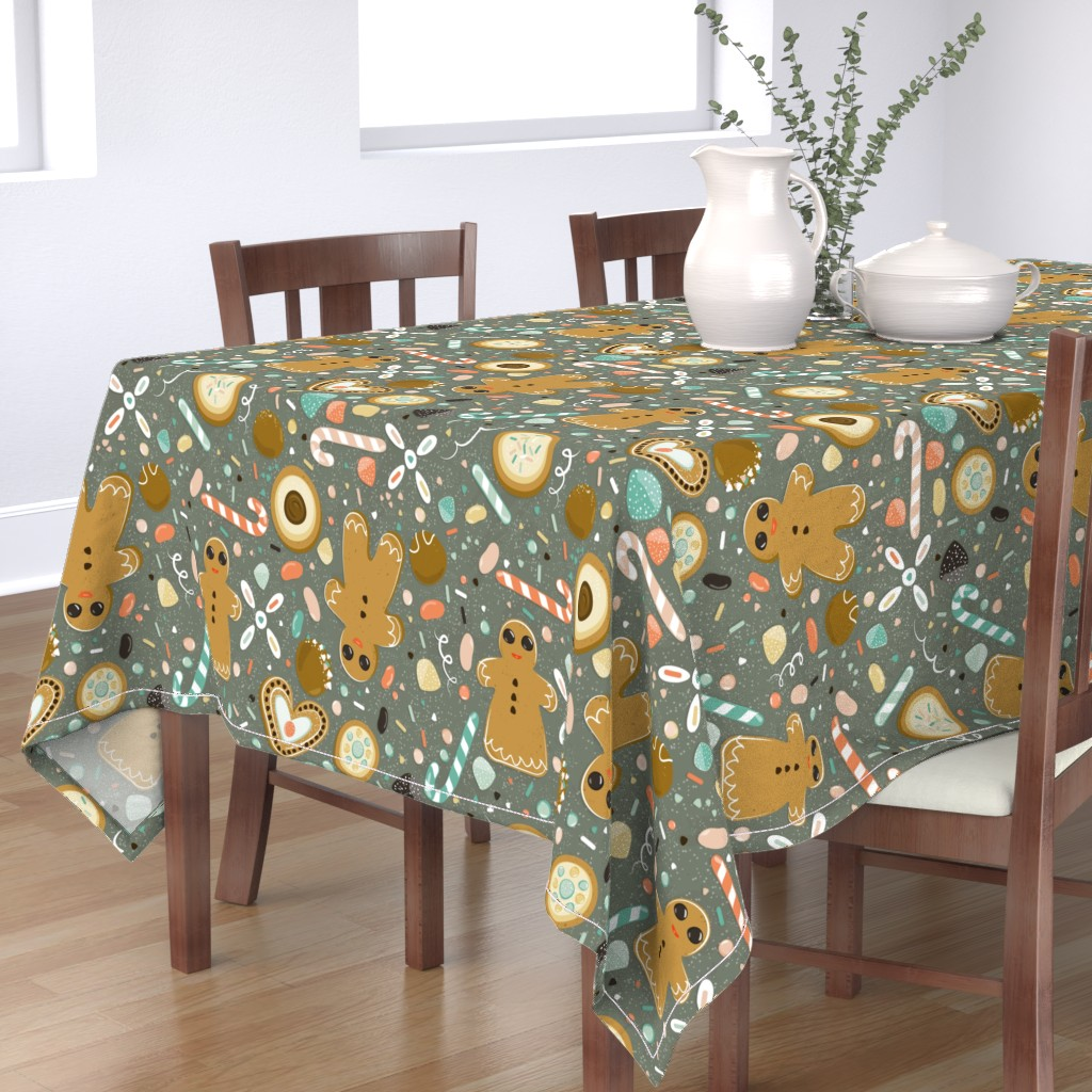 Bantam Rectangular Tablecloth featuring Oh snap... Gingerbread and candy!  by yourfriendamy