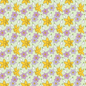 Spring Daffodil and Crocus Pattern
