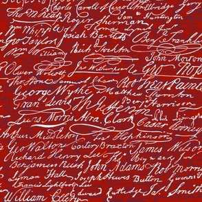 Signers of The Declaration of Independence ~ Turkey Red White and Willow Ware Blue