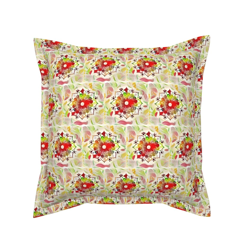 Serama Throw Pillow featuring Mandalas Flowers by gargoylesentry