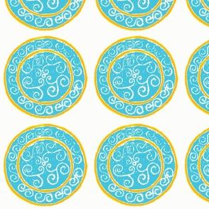 dot swirl aqua and yellow-orange
