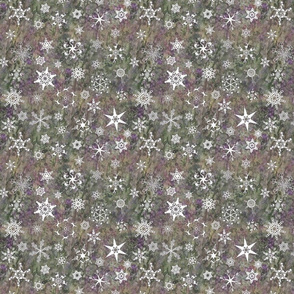 snowflakes - Christmas themes on olive green