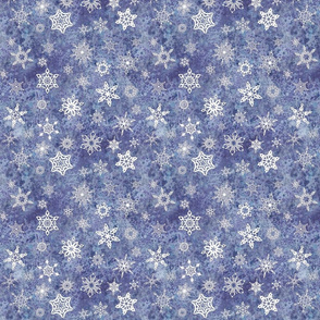 snowflakes - geometric shapes on denim blue