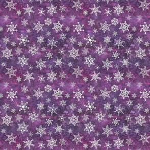 snowflakes - swirl designs on mulberry purple