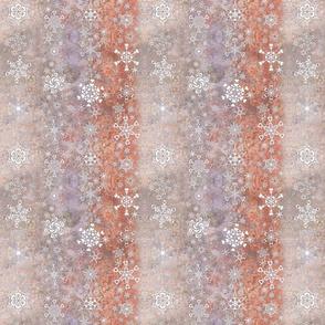 snowflake stripes - hearts on lavender peach ice