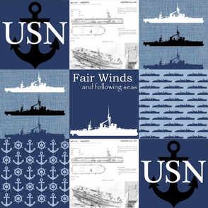 """6"""" Military Boats Faux Quilt"""