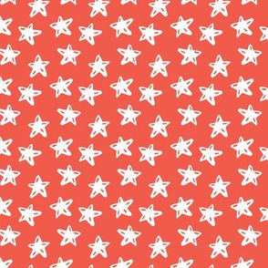HOLIDAY CHEER WHITE CHRISTMAS STARS ON RED