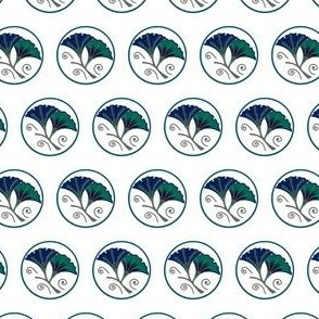 Navy and green morning glories on white