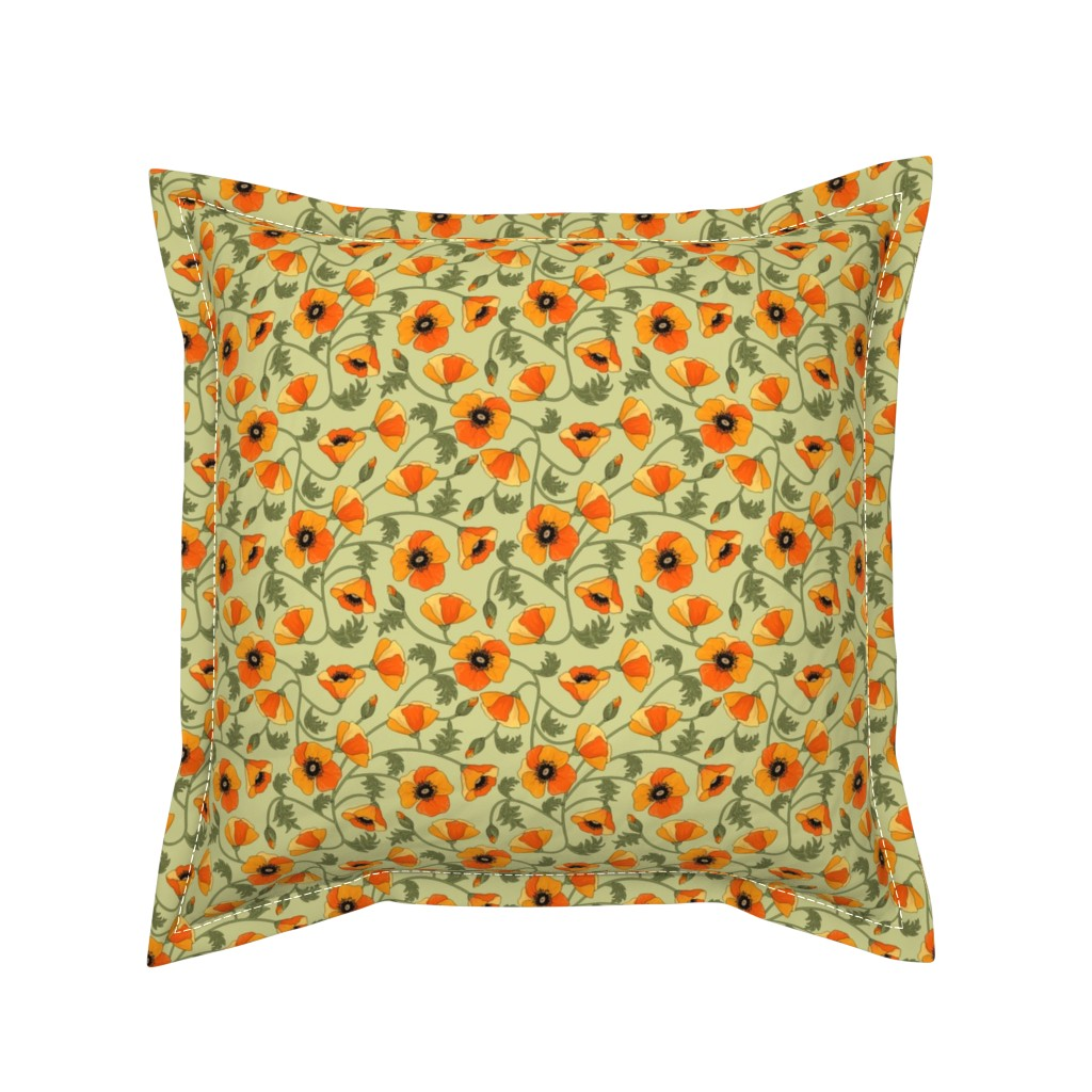 Serama Throw Pillow featuring poppies_yellow by juditgueth