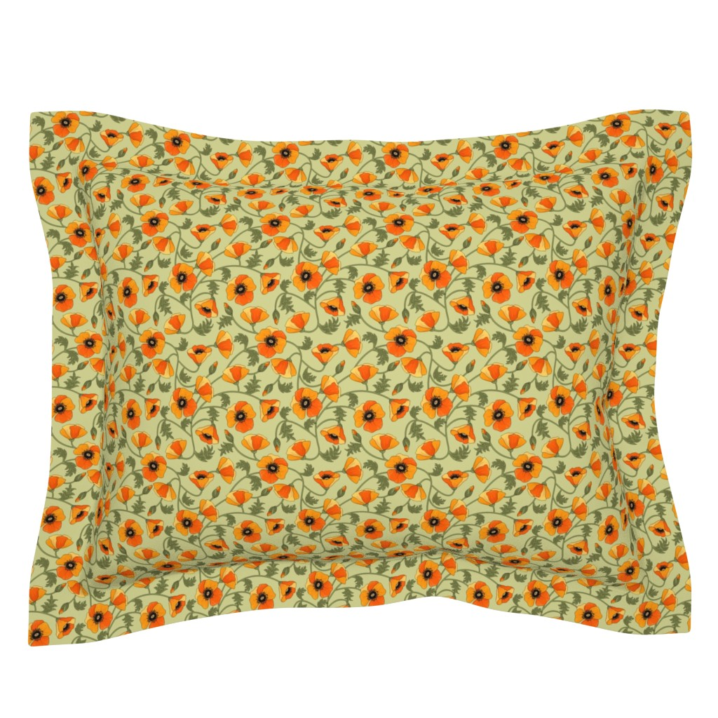 Sebright Pillow Sham featuring poppies_yellow by juditgueth