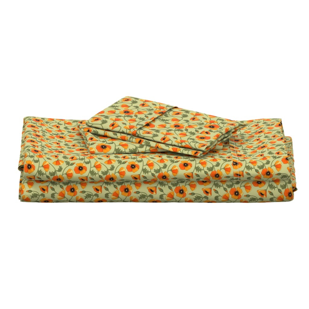Langshan Full Bed Set featuring poppies_yellow by juditgueth