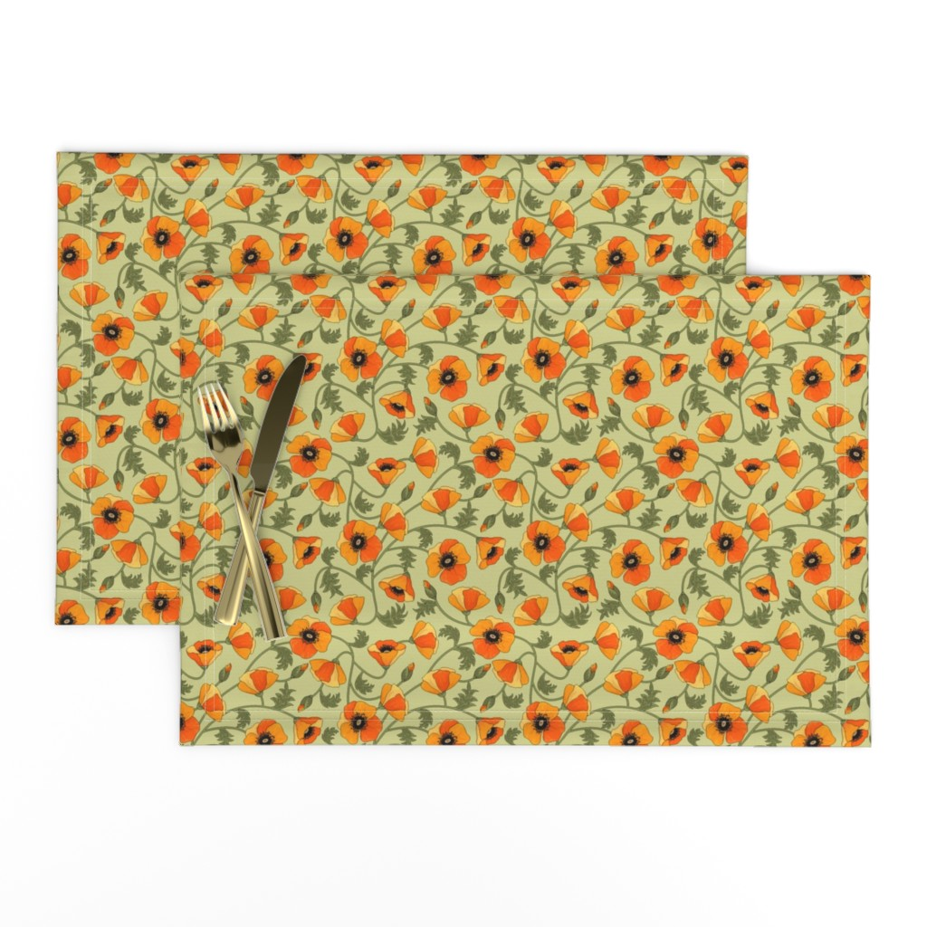 Lamona Cloth Placemats featuring poppies_yellow by juditgueth