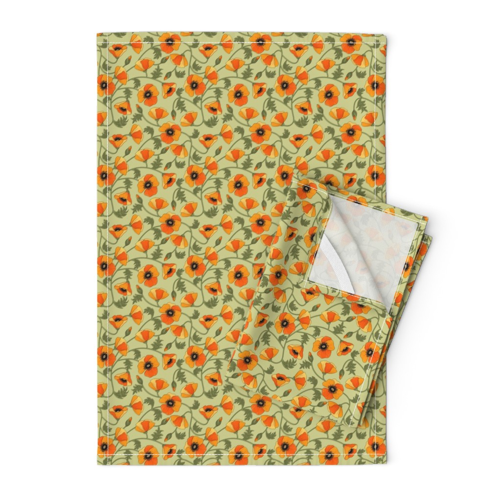 Orpington Tea Towels featuring poppies_yellow by juditgueth