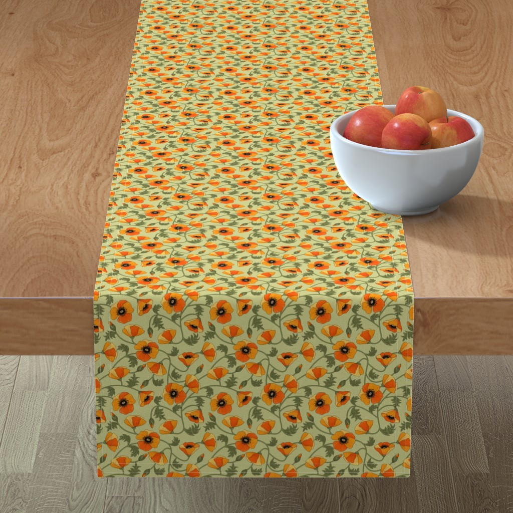 Minorca Table Runner featuring poppies_yellow by juditgueth
