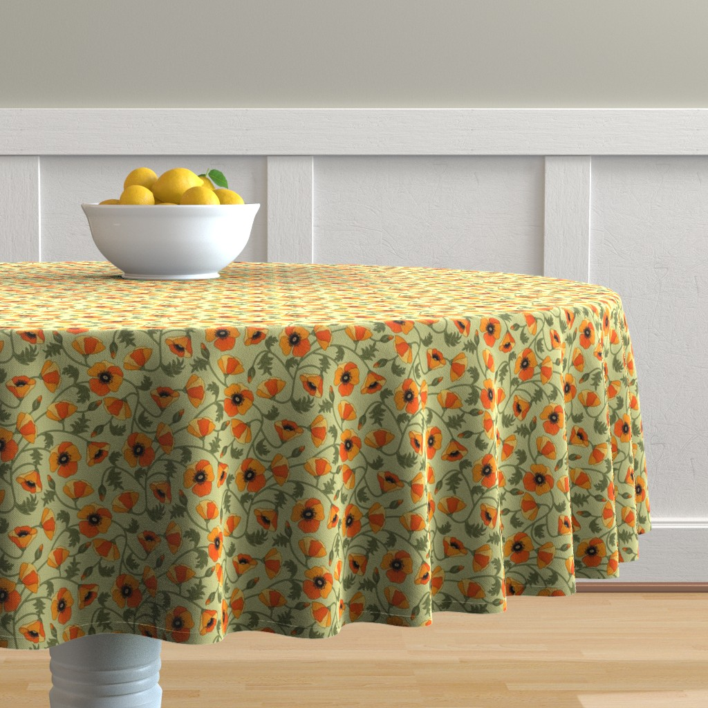 Malay Round Tablecloth featuring poppies_yellow by juditgueth