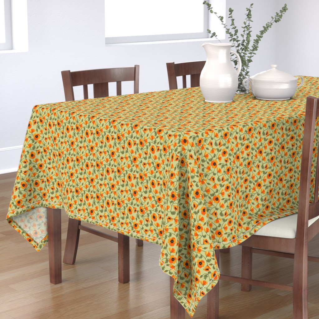 Bantam Rectangular Tablecloth featuring poppies_yellow by juditgueth