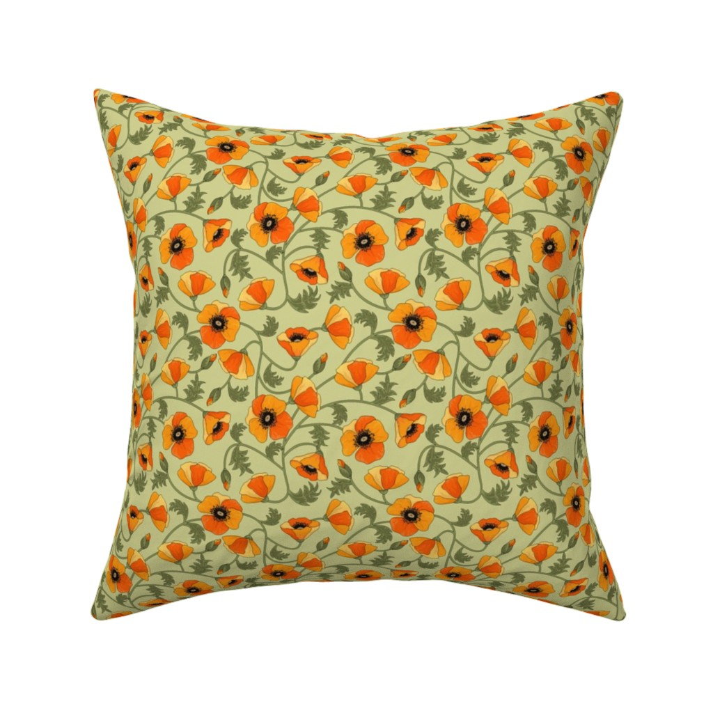 Catalan Throw Pillow featuring poppies_yellow by juditgueth