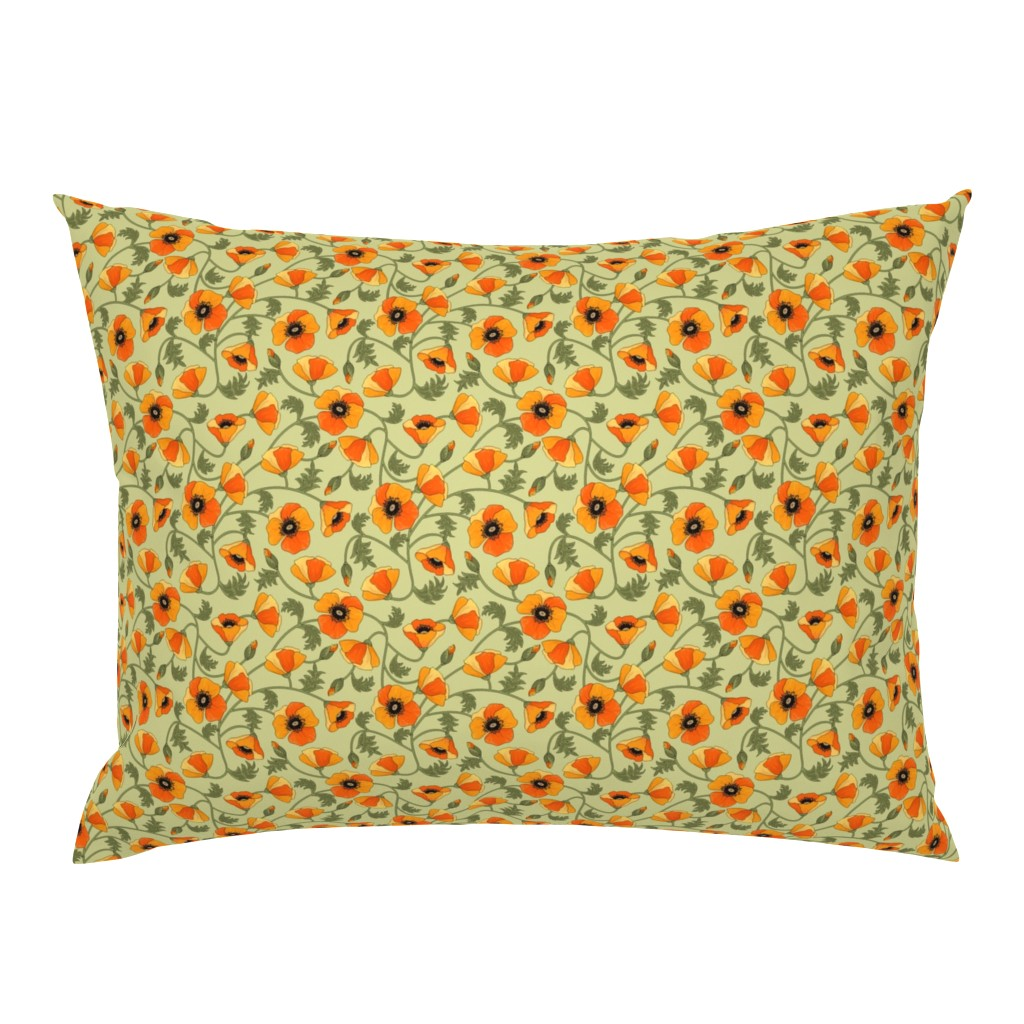 Campine Pillow Sham featuring poppies_yellow by juditgueth