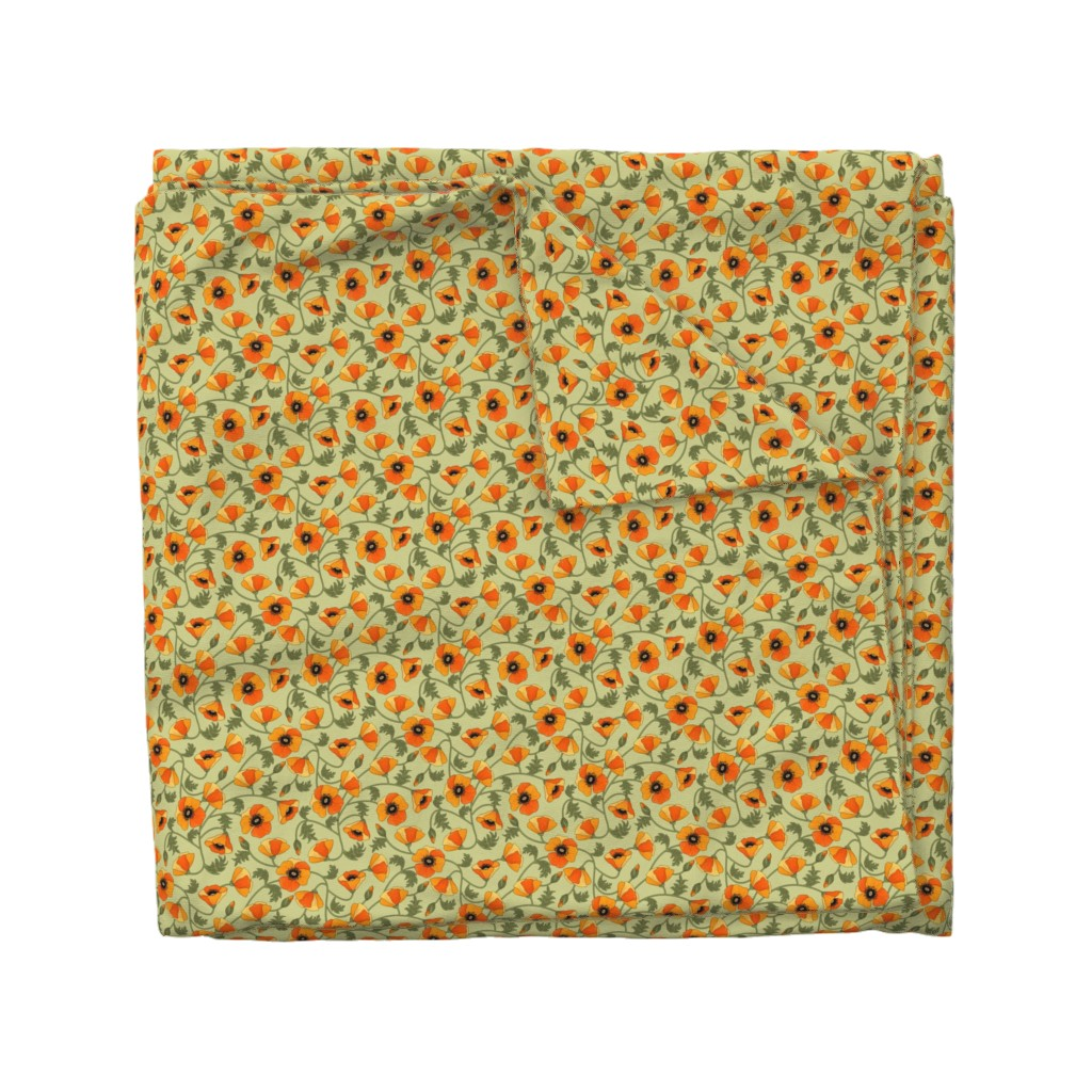 Wyandotte Duvet Cover featuring poppies_yellow by juditgueth