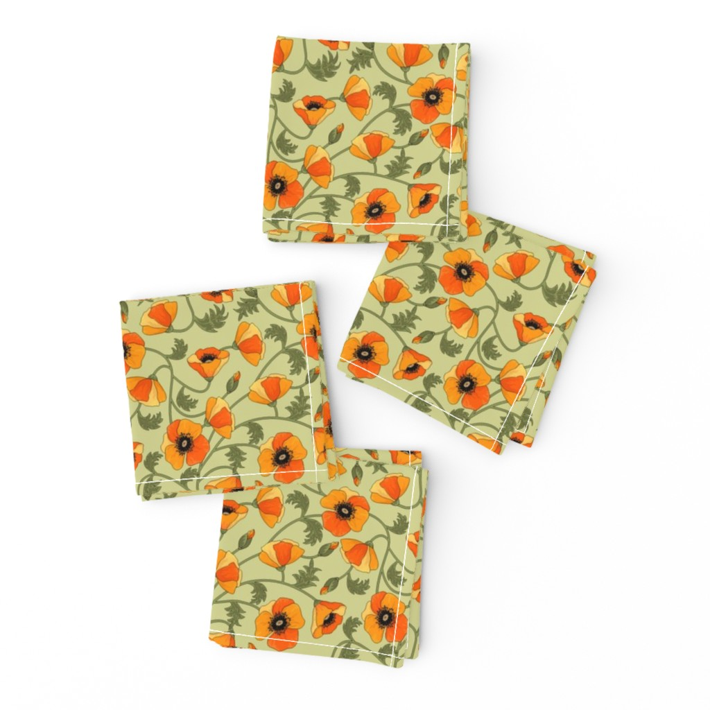 Frizzle Cocktail Napkins featuring poppies_yellow by juditgueth
