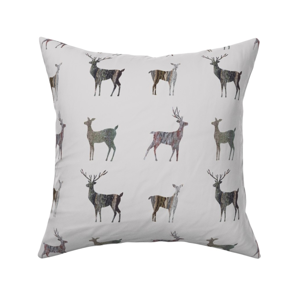 Catalan Throw Pillow featuring tree bark deer silhouettes on greige by sarahkdesigns