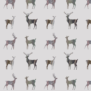tree bark deer silhouettes on greige