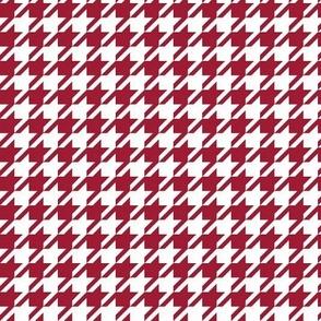 houndstooth crimson and white minimalist pattern print fabric smaller version