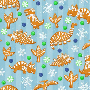 Gingerbread Dinos - Icy Blue