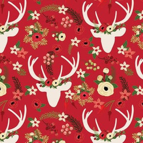 Christmas Floral Deer Winter White