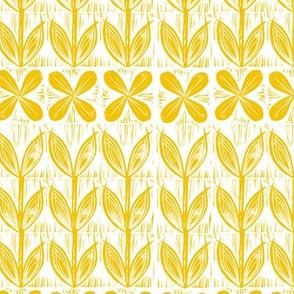 lino block flowers // sunset yellow