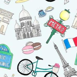 Paris Icons - oversize - blue background