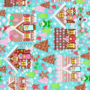 Holiday gingerbread house // gingerbread holiday fabric cute christmas design best gingerbread houses cute fabrics for xmas holidays  rotated