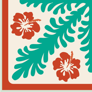 Seaweeds and hibiscus flowers cheater quilt