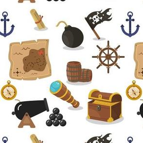 Pirates at sea on white
