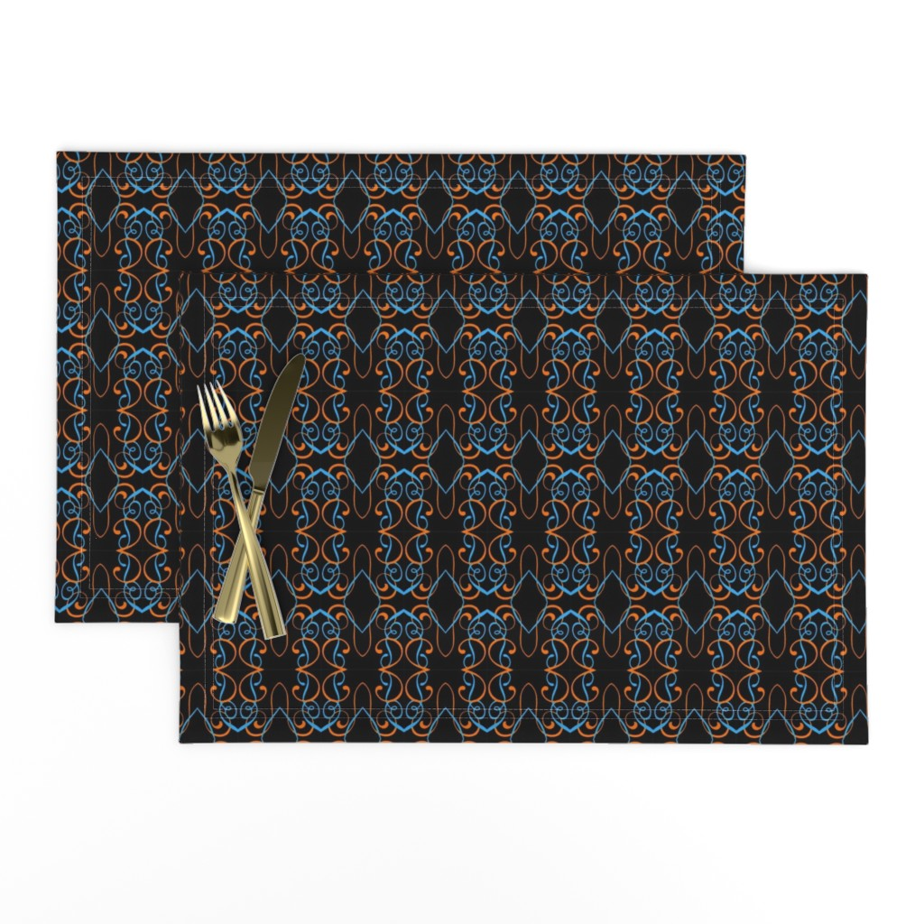 Lamona Cloth Placemats featuring sky blue and orange swirls on black by elizabethmay
