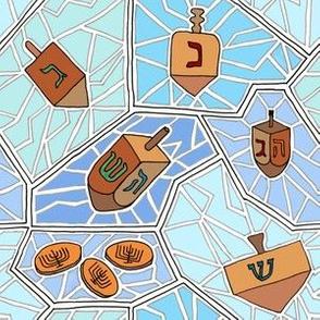 Hanukkah Dreidel and Gelt Mosaic