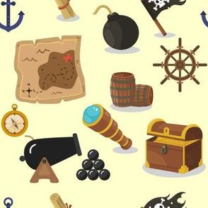 Pirates at sea on yellow