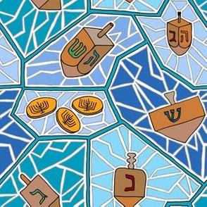 Hanukkah Dreidel Mosaic Pattern in Dark Blues