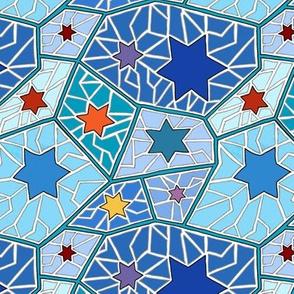 Hanukkah Star of David Mosaic in Dark Blue