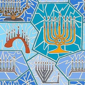 Hanukkah Menorah Mosaic Pattern in Dark Blue