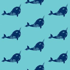 Textured narwhal plushie design blue