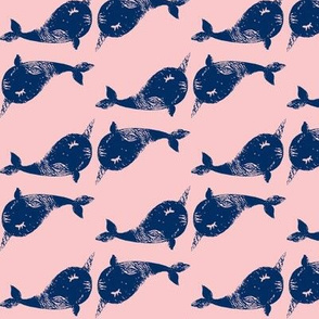 Textured narwhal blue blush plushie