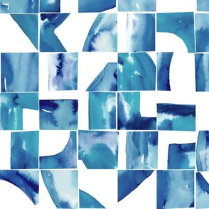 Blue Watercolor Abstract Tiles Small Scale