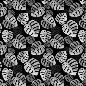 Monstera Monochrome on black MEDIUM scale