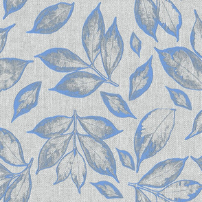 burlap grey placid blue leaves
