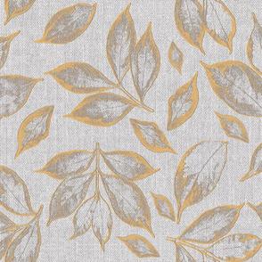 burlap grey tumeric leaves