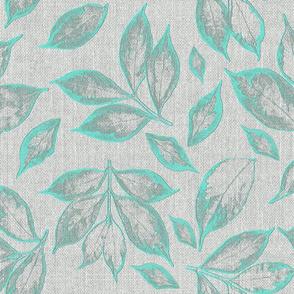 burlap grey bright teal leaves