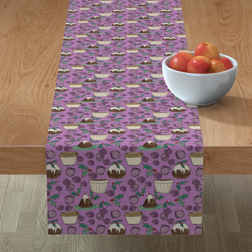Minorca Table Runner featuring Christmas Plum Pudding with Holly by paper_and_frill
